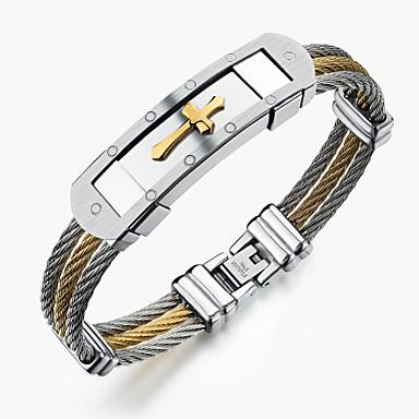 Homens Bracelete - Aço Inoxidável Rock, Góticas, Fashion Pulseiras Dourado / Branco Para Festa / Aniversário / Festa / Noite