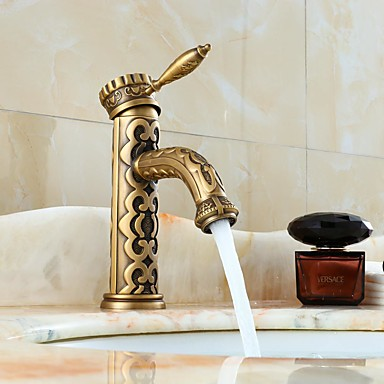 Contemporary Swivel Ceramic Valve One Hole Bronze, Bathroom Sink Faucet