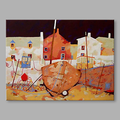 IARTS® Hand Painted Modern Abstract Town Boat House Oil Painting On Canvas with Stretched Frame Wall Art For Home Decoration Ready To Hang