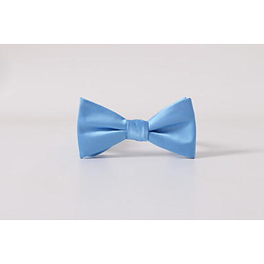 Men's Polyester Bow Tie,Solid Casual Solid All Seasons Light Blue