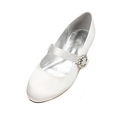 Női Cipő Szatén Tavasz / Nyár Mary Jane / Balerinacipő / Kényelmes Esküvői cipők Lapos Kerek orrú Strasszkő / Glitter / Csokornyakkendő