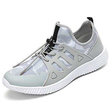 Homens sapatos Tule Primavera Outono Solados com Luzes Conforto Tênis Cadarço para Casual Ao ar livre Preto Cinzento Verde Tropa