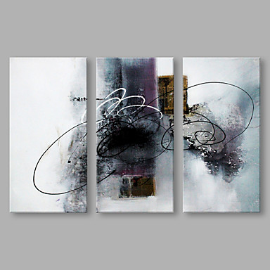 Hand-Painted Abstract Horizontal, Artistic Canvas Oil Painting Home Decoration Three Panels