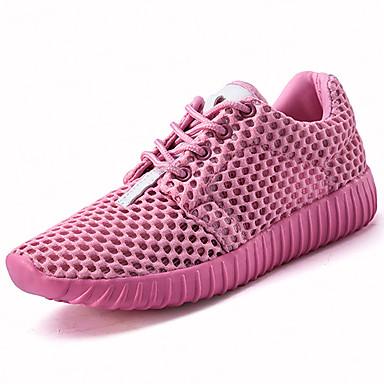 Mulheres Sapatos Tule Primavera Outono Solados com Luzes Tira no Tornozelo Conforto Tênis Sem Salto Ponta Redonda Cadarço para Casual Ao