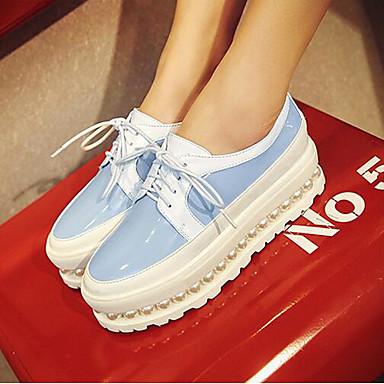 Naiset Kengät Kiiltonahka Kevät Comfort Tasapohjakengät Käyttötarkoitus Kausaliteetti Punainen Sininen