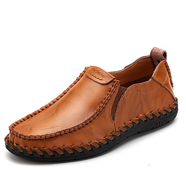 Men's Shoes Cowhide Spring Summer Fall Comfort Loafers & Slip-Ons Walking Shoes Split Joint for Casual Black Brown Wine