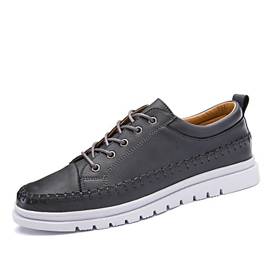 Men's Shoes Leather Winter Fall Comfort Oxfords Lace-up For Casual Outdoor Office & Career Black Gray Khaki