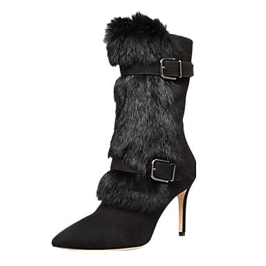 Mulheres Sapatos Courino Inverno Sapatos formais Botas da Moda Botas Salto Agulha Dedo Apontado Botas Cano Médio Ziper para Festas &