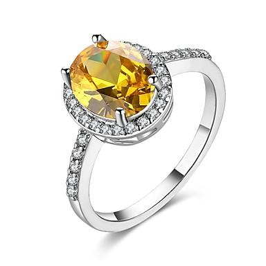 Dame Kubisk Zirkonium Ring - Zirkonium, Kobber, Sølvplett Gull, Sølv