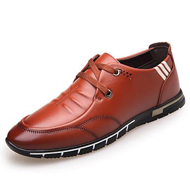 Miehet kengät PU Kevät Comfort Lenkkitossut Käyttötarkoitus Kausaliteetti Musta Ruskea
