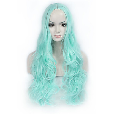 Synthetic Wig Wavy Blue Women's Capless Natural Wigs Long Synthetic Hair