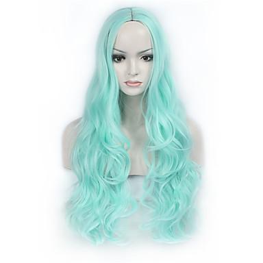 Syntetiske parykker Bølget Blå Dame Lokkløs Naturlig parykk Lang Syntetisk hår