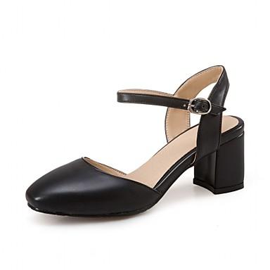 Mulheres Sapatos Couro Ecológico Courino Primavera Verão Inovador Conforto Saltos Caminhada Salto Robusto Ponta quadrada Presilha para