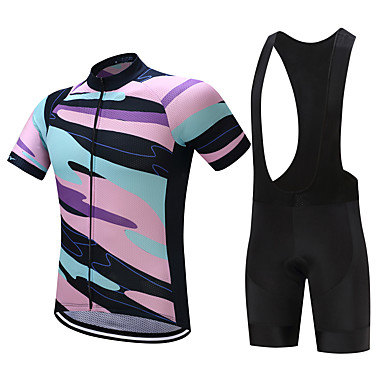 FUALRNY® Men's Short Sleeves Cycling Jersey with Bib Shorts - Black / Pink Blue / Black Bike Clothing Suits, Quick Dry, Sweat-wicking,