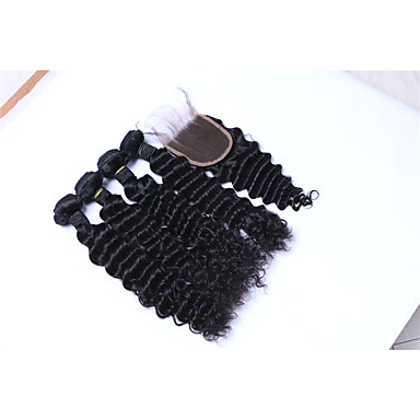 Brazilian Hair Deep Wave Human Hair Weaves 5 Pieces 0.45