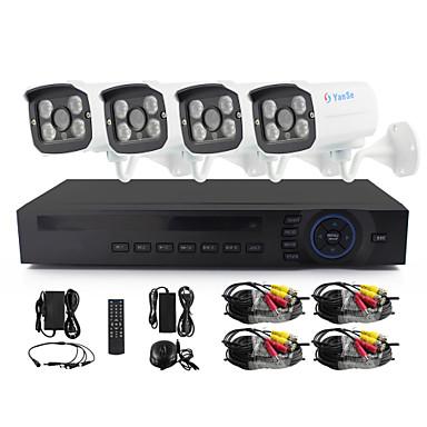 YanSe® 4 CH 960P CCTV Camera AHD Kits IR Color Waterproof Security Cameras System Home 1.3MP AHD-M