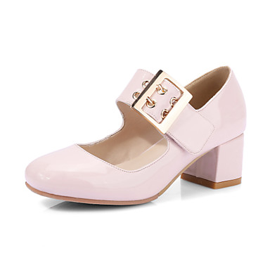 Women's Shoes Synthetic Microfiber PU Polyamide fabric Spring Summer Basic Pump Heels Chunky Heel Round Toe Buckle Tassel(s) For Wedding