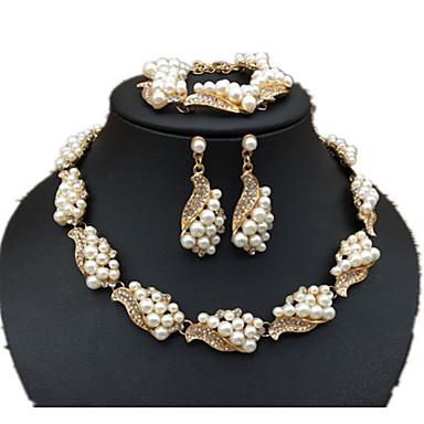 Mulheres Gema Imitação de Pérola Imitação de Pérola Conjunto de jóias - Personalizada Luxo Original Clássico Rhinestone Boêmio Básico