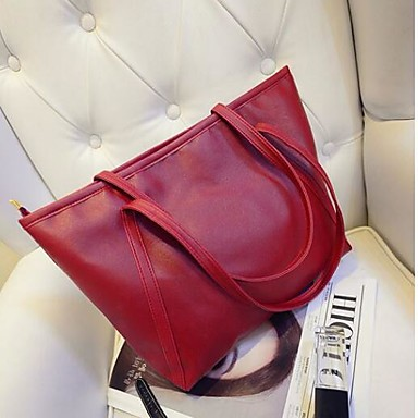 Women Shoulder Bag PU All Seasons Casual Outdoor Round Zipper Black Red Blushing Pink