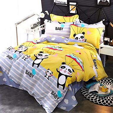 Cartoon 4 Piece Cotton Cotton 1pc Duvet Cover 2pcs Shams 1pc Flat Sheet