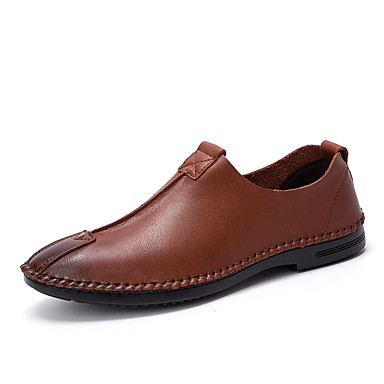 Men's Shoes Leather Summer Fall Formal Shoes Light Soles Comfort Loafers & Slip-Ons for Casual Office & Career Party & Evening Black Dark