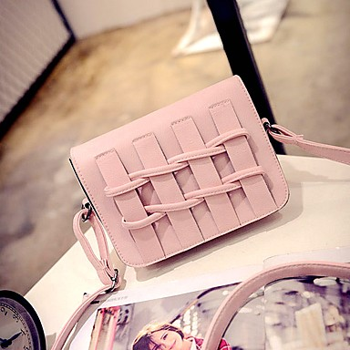 Női Táskák PU Vállon átvetős táska Fodrozott Fekete / Arcpír rózsaszín / Szürke