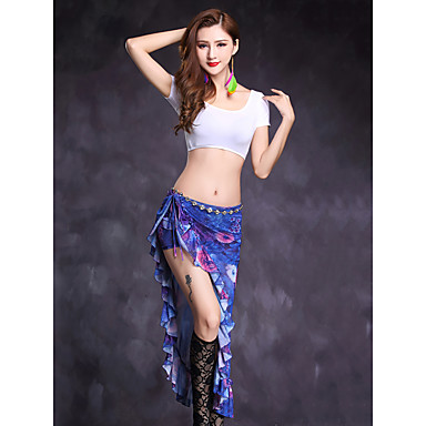 Belly Dance Outfits Women's Performance Modal Pattern / Print Split Front Short Sleeve Natural Skirts Top