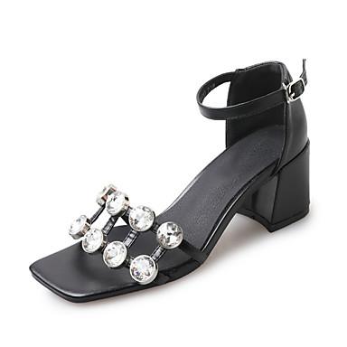 Mulheres Sapatos Couro Ecológico Primavera Verão Fashion Sapatos clube Sandálias Salto Robusto Dedo Aberto Pedrarias Presilha para Festa