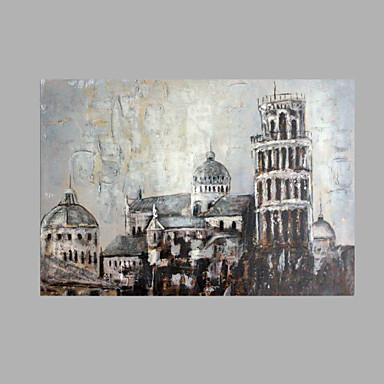 Pintura a Óleo Pintados à mão - Arquitetura Abstracto Tela de pintura