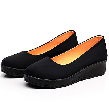 Naiset Kengät Kangas Kevät Comfort Tasapohjakengät Käyttötarkoitus Kausaliteetti Musta