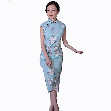 Badedrakt/Kjoler Klassisk og Tradisjonell Lolita Vintage Inspireret Cosplay Lolita-kjoler Trykt mønster Vintage Ermeløs Cheongsam Til