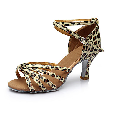 Women's Latin Leatherette Sandal Indoor Customized Heel Leopard Customizable