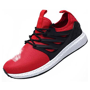 Homens sapatos Tule Primavera Outono Solados com Luzes Tênis Caminhada Cadarço para Casual Preto Cinzento Vermelho