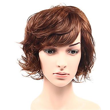 Syntetisk hår Parykker Krop Bølge Bobfrisyre Med lugg Lokkløs Naturlig parykk Kort Brun