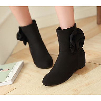 Women's Shoes PU Leather Fall Winter Fashion Boots Comfort Boots for Casual Black Wine
