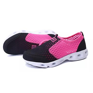Mulheres Sapatos Tule Primavera Outono Conforto Tênis Sem Salto Ponta Redonda para Ao ar livre Preto Cinzento Rosa claro