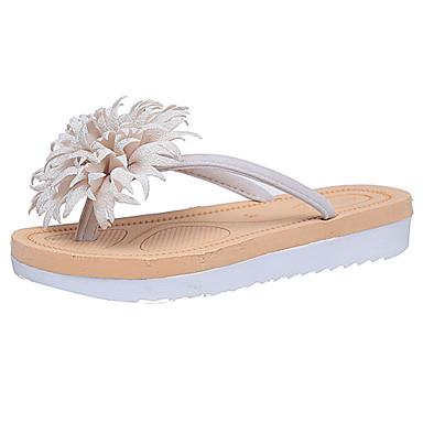 Mulheres Sapatos Borracha Verão Conforto Sandálias Caminhada Sem Salto Bege / Vermelho / Rosa claro