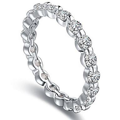 Dame Steninnfatninger Ring Band Ring Kubisk Zirkonium Personalisert Luksus Unikt design Klassisk Grunnleggende Sexy Venskap Britisk USA