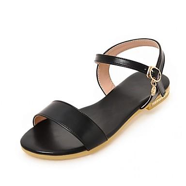 Mulheres Sapatos Courino / Couro Ecológico Verão / Outono Conforto / Inovador Sandálias Caminhada Sem Salto Peep Toe Presilha Preto /