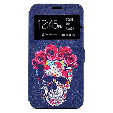 Capinha Para Samsung Galaxy A5(2017) A3(2017) Porta-Cartão Com Suporte Estampada Capa Proteção Completa Caveiras Rígida PU Leather para