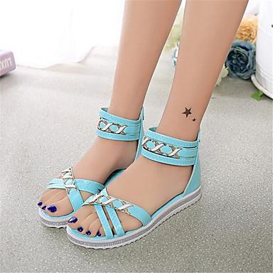 Women's Sandals Comfort Spring PU Casual Blushing Pink Light Blue Almond Flat