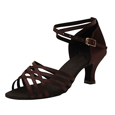 Women's Latin Silk Sandal Performance Criss-Cross Cuban Heel Dark Brown 2
