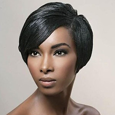 Human Hair Capless Wigs Human Hair Straight Pixie Cut With Bangs Side Part Short Machine Made Wig Women's