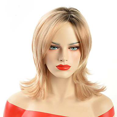 Ombre Short Blonde Synthetic Wigs  Wave Hair For Black Women Two Tone Black Root Natural African Amercian Hair Wig