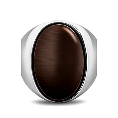 voordelige Herensieraden-Heren Statement Ring Ring Zegelring Koffie Rood Groen Titanium Staal Geometrische vorm Ovaal Gepersonaliseerde Punk Rock Feest Vuosipäivä Sieraden meetkundig
