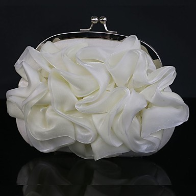 Women's Bags Silk Clutch Floral for Wedding Event/Party Casual Sports Formal Office & Career Outdoor Spring/Fall All Seasons White