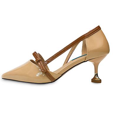 Mulheres Sapatos Couro Envernizado Verão Conforto Sandálias Caminhada Salto Baixo Dedo Apontado Presilha para Ao ar livre Amêndoa
