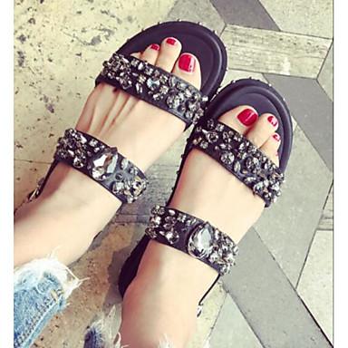 Naiset Sandaalit Comfort Kesä PU Kausaliteetti Musta Hopea Tasapohja