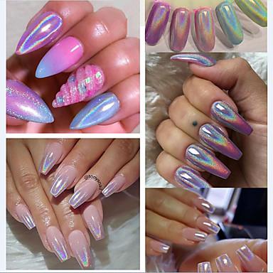 2pcs Nail Glitter Glitter Powder Pó Paetês Elegante & Luxuoso Efeito de espelho Brilho & Glitter Nail Art Design