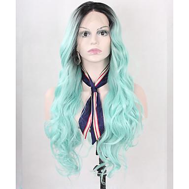 Naisten Synteettiset pitsireunan peruukit Pitkä Laineita Vaalean sininen Sininen Vihreä Musta Liukuvärjätyt hiukset Cosplay-peruukki
